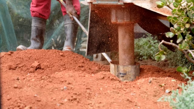 borehole drilling machine drilling through the clay soil - digging stock videos & royalty-free footage