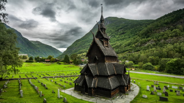 time lapse: borgund stave church in norway - christianity stock videos & royalty-free footage