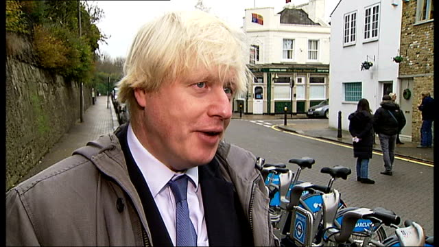 boris bikes scheme expanded / search for new sponsor; boris johnson interview sot - talks of being grateful to barclays bank for their support of the... - new hire stock videos & royalty-free footage