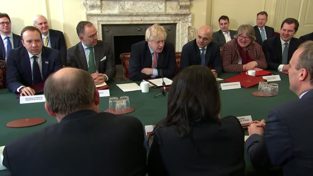 boris johnson addresses first cabinet meeting of new parliament; england: london: 10 downing street: int boris johnson mp addresses first cabinet... - built structure stock videos & royalty-free footage