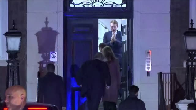boris johnson and carrie symonds arrive at conservative party headquarters after general election victory - girlfriend stock videos & royalty-free footage