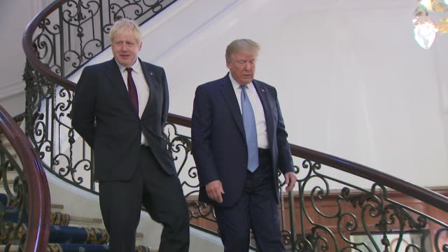 boris johnson and donald trump photocall on staircase at g7 summit in biarritz trump says he is going to be a fantastic prime minister and we are... - photo call stock videos & royalty-free footage