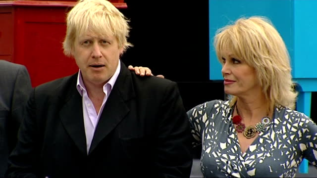 boris johnson and joanna lumley announce 'world's largest reuse network' press conference and photocall england london southbank ext various shots of... - chest of drawers stock videos & royalty-free footage