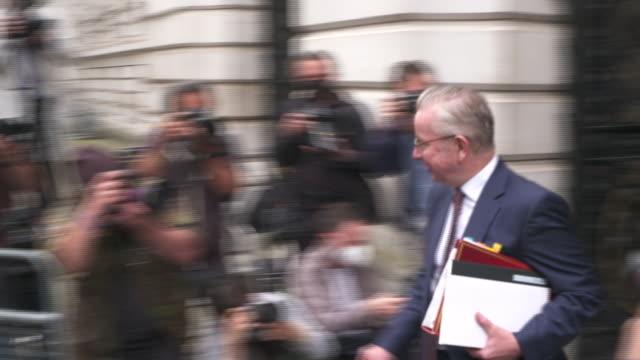 "boris johnson and michael gove walking into 10 downing street - ""bbc news"" stock videos & royalty-free footage"