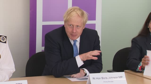 boris johnson and priti patel attend national policing board meeting england london home office int boris johnson mp and priti patel mp into room and... - priti patel stock-videos und b-roll-filmmaterial
