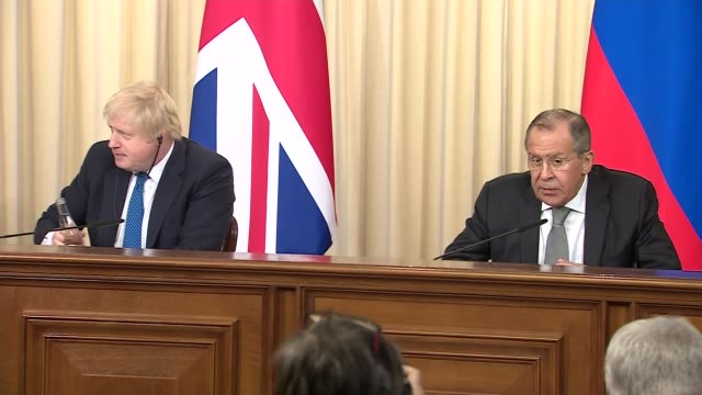 Boris Johnson and Sergey Lavrov press conference Boris Johnson answers question from press SOT re Russia hostile to UK trust each other / as I have...