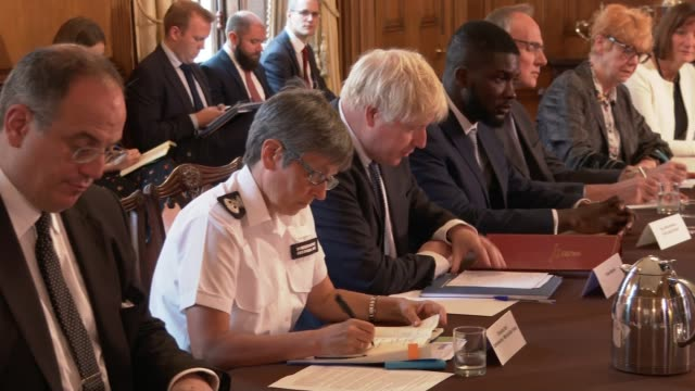boris johnson announces extra funding for cps and review of sentencing policy england london downing street number 10 int various shots of boris... - verurteilung stock-videos und b-roll-filmmaterial