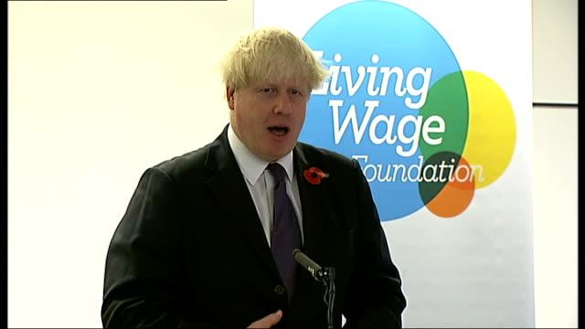 Boris Johnson announces London living wage rate Boris Johnson speech and interview ** BEWARE Boris Johnson up to stage / speech SOT Johnson posing...