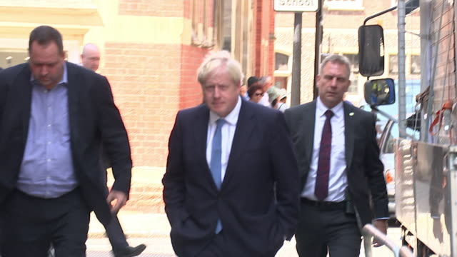 boris johnson arrives back at his hq after winning the conservative party leadership election - boris johnson stock videos & royalty-free footage