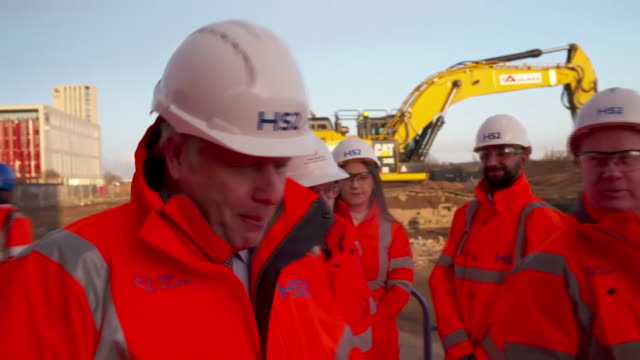 boris johnson at a hs2 construction site - headwear stock videos & royalty-free footage