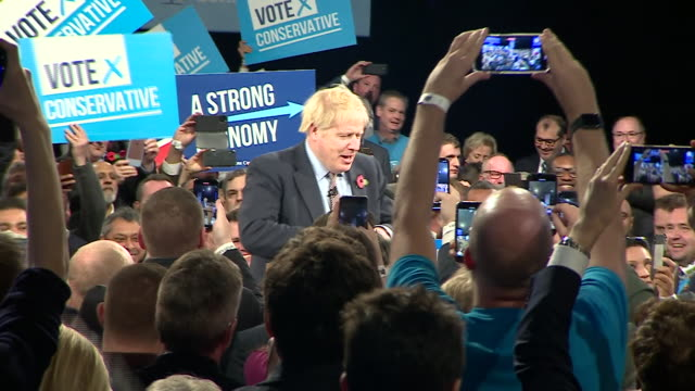 boris johnson at an election campaign rally in birmingham - photography themes stock videos & royalty-free footage
