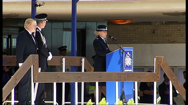 boris johnson at metropolitan police 'passing out' parade lucinda woollcombe speaking at podium sot johnson speaking at podium sot - passing out parade stock videos & royalty-free footage