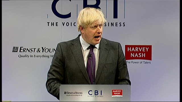 Boris Johnson attacks Mansion Tax at CBI Conference ENGLAND London CBI Conference INT Boris Johnson speech SOT We should have taxes that are low but...