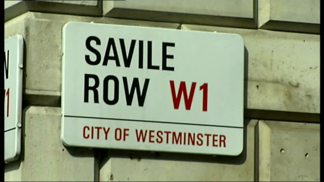 boris johnson attends 'london collections men' event england london savile row ext 'savile row' road sign / various shots of male models gathered on... - savile row stock videos and b-roll footage