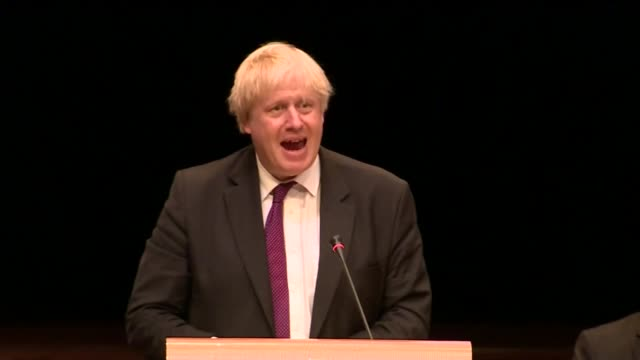 boris johnson attends opcw meeting netherlands the hague boris johnson to podium and speech sot boris johnson departs - boris johnson stock videos and b-roll footage