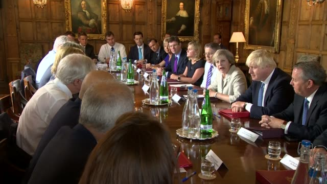 boris johnson backs change britain campaign on brexit implementation lib / 3182016 buckinghamshire chequers int prime minister theresa may holding a... - itv weekend evening news点の映像素材/bロール