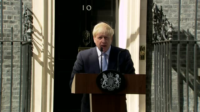 boris johnson becomes new prime minister and appoints new cabinet ministers uk london downing street boris johnson speech and cutaways and dominic... - appearance stock videos & royalty-free footage