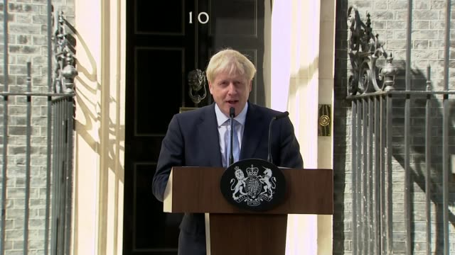 boris johnson becomes new prime minister and appoints new cabinet ministers uk london downing street boris johnson speech and cutaways london... - boris johnson stock-videos und b-roll-filmmaterial
