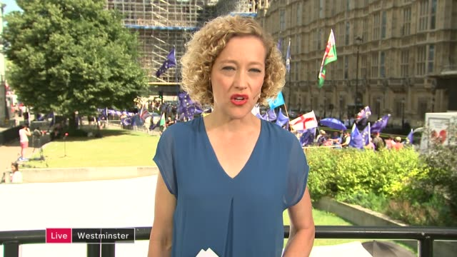 boris johnson becomes new prime minister and begins to name team england london westminster ext cathy newman to camera sot - cathy newman stock-videos und b-roll-filmmaterial