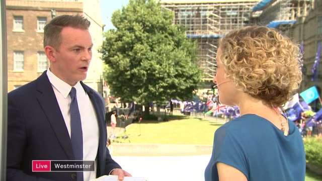 boris johnson becomes new prime minister and begins to name team england london westminster ext cathy newman 2way with paul mcnamara sot - cathy newman stock-videos und b-roll-filmmaterial