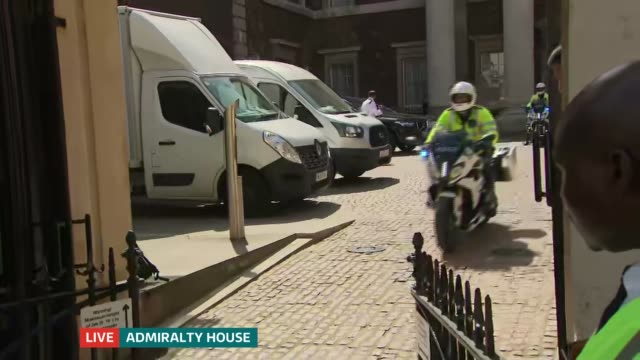 itv news special 1500 1600 england london admiralty house police motorbikes along - image manipulation stock videos and b-roll footage