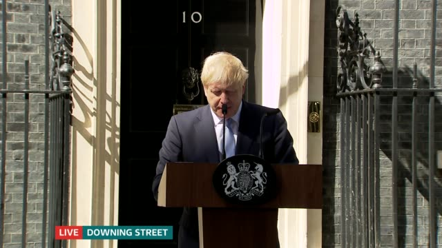 boris johnson becomes new prime minister: itv news special: 16.00 - 16.30; england: london: downing street: ext boris johnson mp speech sot - and it... - 30 39 years点の映像素材/bロール