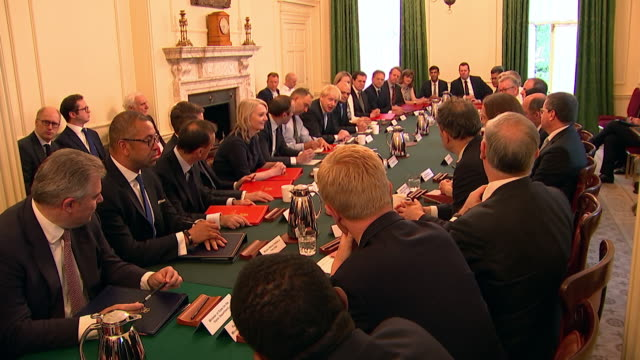 boris johnson chairs his first cabinet meeting as prime minister says it's wonderful to see this new team reflecting the depth and breadth of talent... - politician stock videos & royalty-free footage
