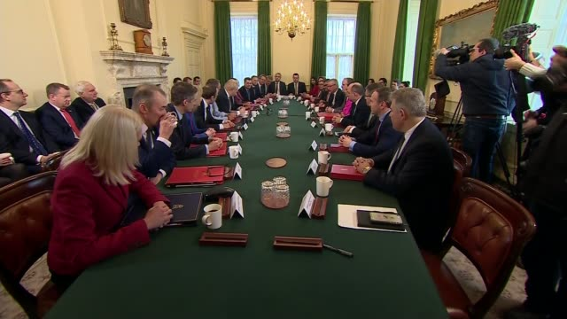 boris johnson chairs his first reshuffled cabinet after chancellor's resignation; england: london: 10 downing street: int various of boris johnson mp... - prime minister stock-videos und b-roll-filmmaterial