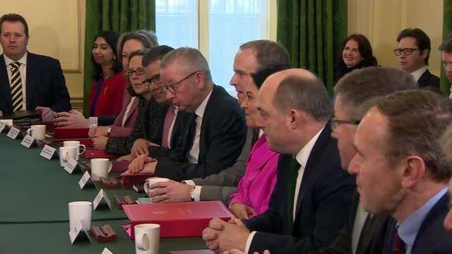 boris johnson chairs his first reshuffled cabinet after chancellor's resignation; uk, london: boris johnson mp addresses cabinet meeting including... - prime minister stock-videos und b-roll-filmmaterial