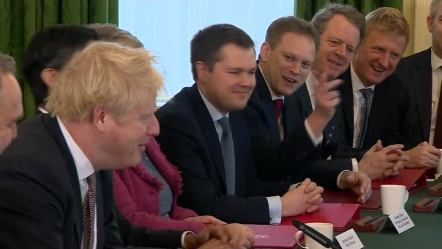 boris johnson chairs his first reshuffled cabinet after chancellor's resignation uk london prime minister boris johnson call and response with the... - minister stock-videos und b-roll-filmmaterial