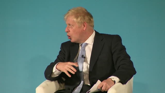 "boris johnson, conservative leadership contender at bournemouth husting, about immigration after brexit ""they should come when there is a job on... - emigration and immigration stock videos & royalty-free footage"