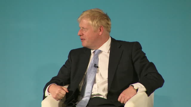 boris johnson conservative leadership contender at bournemouth husting about achieving brexit a little bit more resolve is called for - bournemouth england stock videos & royalty-free footage