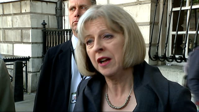 boris johnson criticised over the order of water cannons for london police; london: ext theresa may mp interview sot - let me be clear about the... - 放水砲点の映像素材/bロール