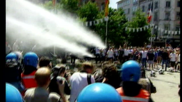 boris johnson criticised over the order of water cannons for london police; tx 17.6.2000 belgium: charleroi: ext belgian police water cannon firing... - water cannon stock videos & royalty-free footage