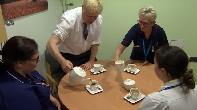 boris johnson drinking tea in a hospital on the election campaign trail - drinking stock videos & royalty-free footage