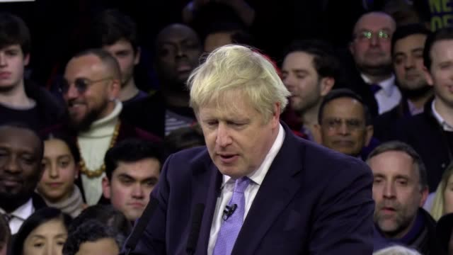 boris johnson ends his election campaign at a party rally at the copperbox arena in london's olympic park the prime minister told supporters that the... - general election stock videos & royalty-free footage