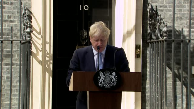 boris johnson first statement as prime minister outside no 10 england london westminster downing street photography** boris johnson mp speech sot... - office stock videos & royalty-free footage