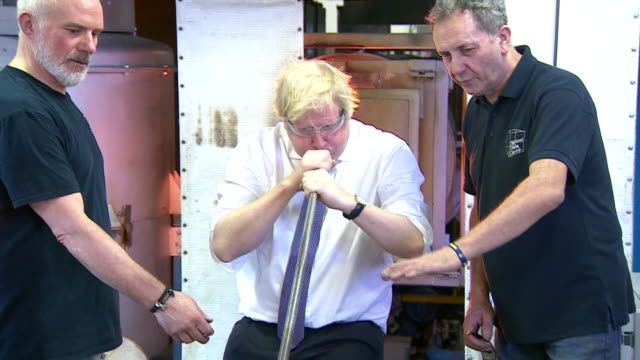 boris johnson glassblowing in sunderland on 'brexit day' - craftsperson stock videos & royalty-free footage