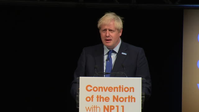 "boris johnson heckled during convention of the north speech in yorkshire, told to ""get back to parliament to sort ourt the mess you created"" - north stock videos & royalty-free footage"