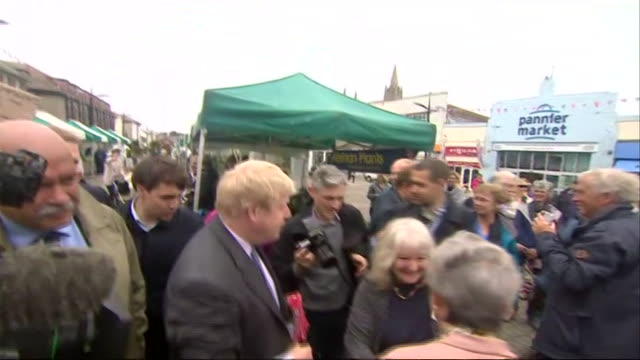 boris johnson in cornwall campaigning for vote leave - 2016 european union referendum stock videos & royalty-free footage