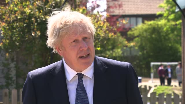 boris johnson interview; england: country durham: ferryhill: cleves cross primary school: ext boris johnson mp interview sot - re education spending... - other stock videos & royalty-free footage