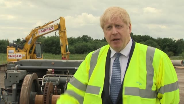 east yorkshire goole ext boris johnson mp interview sot re replacing local trains re lockdown easing - politics stock-videos und b-roll-filmmaterial
