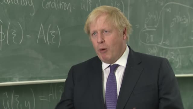 london king's college london mathematics school int boris johnson mp interview sot q pm new global talent visa is replacing the exceptional talent... - end cap stock videos & royalty-free footage