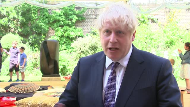 boris johnson interview on possibly extending school day; part 1 of 2 england: london: westminster: downing street: number 10 garden: ext boris... - resilience stock videos & royalty-free footage
