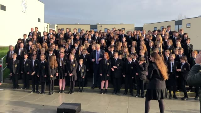 boris johnson joined in with a year seven choir singing lovely day by bill withers on a visit to chulmleigh community college in devon. the prime... - science and technology stock videos & royalty-free footage