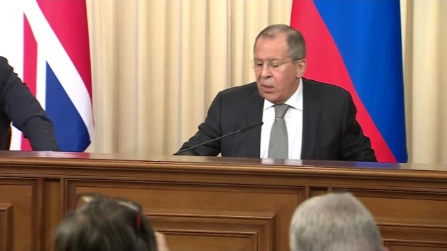boris johnson meets sergey lavrov in moscow sergey lavrov press conference sot i trust him so much that i call him boris boris johnson press... - verification stock videos & royalty-free footage