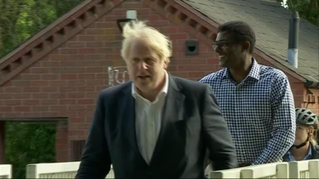 "boris johnson on a visit to nottingham - ""bbc news"" video stock e b–roll"