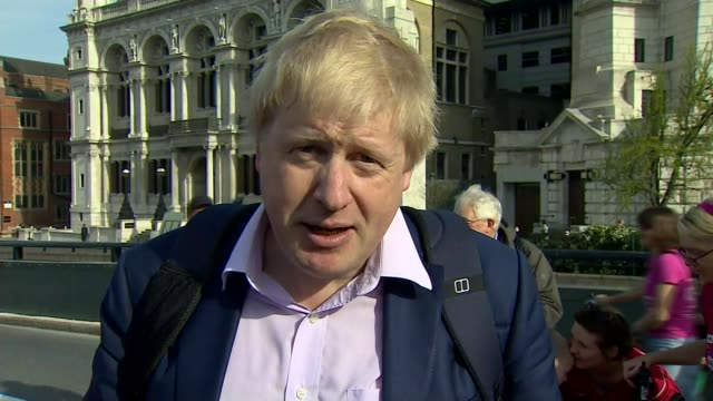 boris johnson opens cycle superhighway on his last day as mayor of london; england: london: ext boris johnson mp interview sot - i know it was a bit... - last day stock videos & royalty-free footage
