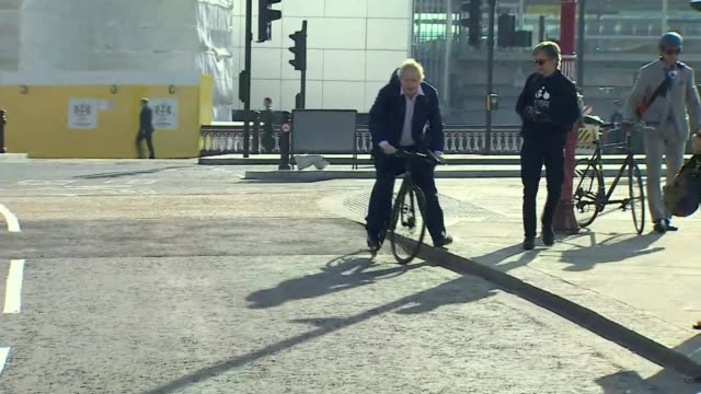 boris johnson opens cycle superhighway on his last day as mayor of london england london ext cyclists along road boris johnson mp cycling along - last day stock videos & royalty-free footage
