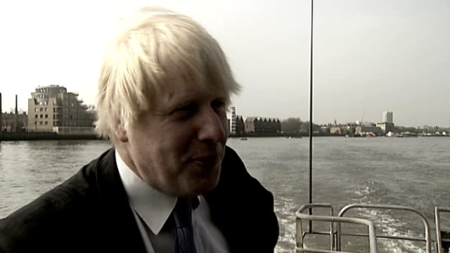 boris johnson plan to encourage commuters to take boat to work; england: london: ext boris johnson on thames river boat as saying 'for the first time... - mollusc stock videos & royalty-free footage